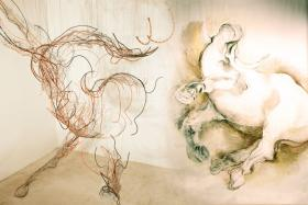And The and Now, 2012-2013, mixed media, 11 feet x 8 feet 5 inches x 7 feet 6 inches and Bull Drawing III, 2012, mixed media, 11 x 11 feet