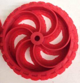 A plastic prototype created through the 3D printer.
