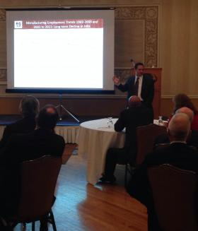 Daniel Hodge, Director of Economic and Public Policy Research at the UMass Donahue Institute, explains the study's findings to Berkshire County leaders.