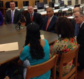 Massachusetts Governor Deval Patrick and the state's Secretary of Education Matthew Malone joined local school and government officials in hearing what Pittsfield High School students had to say about their education.