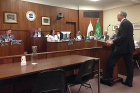 """Pittsfield Mayor Dan Bianchi answers questions from city councilors regarding the """"Rest of the River"""" agreement during a nearly three-hour meeting."""