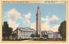 A postcard believed to be from 1940 shows Springfield Symphony Hall (on the left) the Italiante Camanile clock tower and City Hall