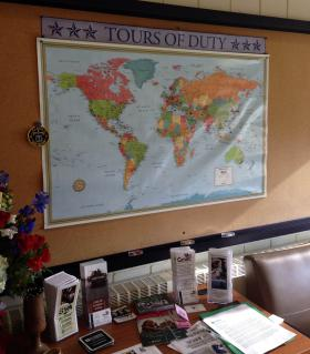 A map in the lounge points out where Berkshire Community College's 80 student veterans served in the U.S. and around the world.