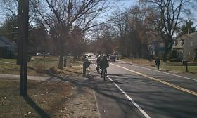 Bicycling on Plumtree Road in Springfield, MA