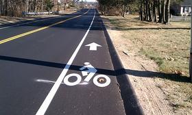 A new bike lane on Plumtree Road in Springfield, MA