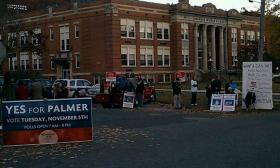 Casino proponents and opponents outside a polling place in Palmer, MA on Election Day 2013.