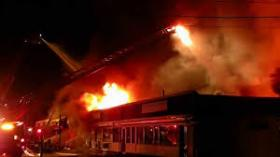 Fire on Oct. 27 damaged or destroyed a dozen businesses in a strip mall on Route 9 in Hadley, MA