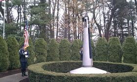 The eternal flame memorial to John F. Kennedy in Forest Park Springfield, MA