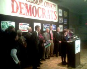 Mayor-elect Kathy Sheehan gives her victory speech at the Polish Community Center, Albany N.Y. 5 November 2013