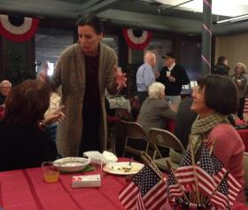 Juliette Kayyem, a Democratic hopeful for governor in 2014, speaks to members of the Berkshire Brigades in Pittsfield.