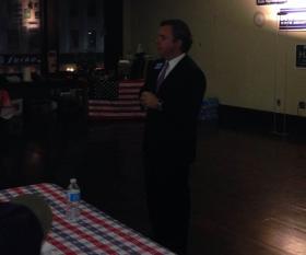 Steve Kerrigan, a Democratic hopeful for lieutenant governor in 2014, speaking before the Berkshire Brigades.