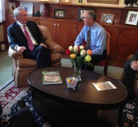 U.S. Senator Edward Markey, on left, sitting with Pittsfield Mayor Dan Bianchi during a visit to the city in August.