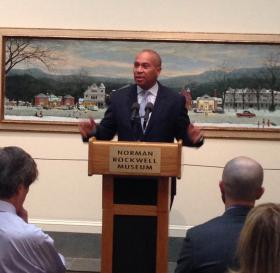 Massachusetts Governor Deval Patrick makes the announcement at the Norman Rockwell Museum in Stockbridge.