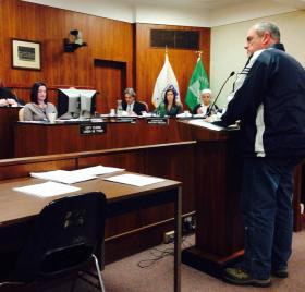 Dan Colello speaks to the city council Tuesday during a public hearing regarding the city's tax rates.