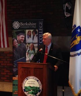 Massachusetts Secretary of Veterans' Services Coleman Nee spoke during the event.
