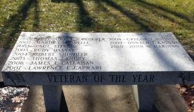 Names of previous Veteran of the Year recipients are inscribed on a bench on Veterans Way. The names of the 2011 and 2012 recipients, along with Morris will be added in the spring.