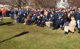 Local veterans and others gathered at the Peace Memorial on Veterans Way for a ceremony after a parade through the heart of Pittsfield.
