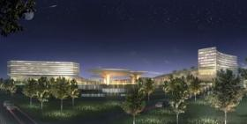 An artist's rendering of Mohegan Sun's proposed casino at  Suffolk Downs in Revere, MA