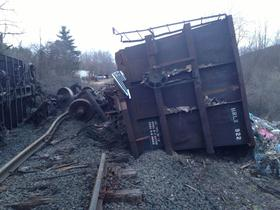 A freight train derailed in Sheffield, Mass. in April 2013.