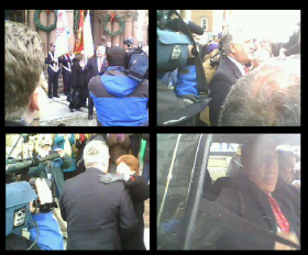 Mayor Jerry Jennings emerges from City Hall, addresses and hugs folks in the crowd, including Mayor-elect Kathy Sheehan, before being driven off in a black SUV.