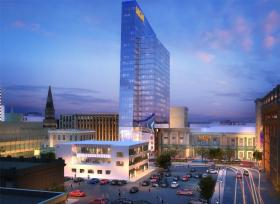 An artist's rendering of MGM Resorts proposed casino development in Springfield, MA