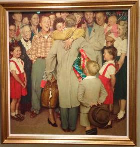 """Norman Rockwell's """"Christmas Homecoming"""" on display at the Norman Rockwell Museum in Stockbridge, MA."""