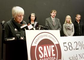 Members of SAVE Saratoga address the media ahead of Monday's casino forum.