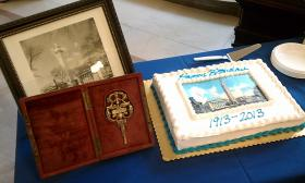 Memorabilia on display for the 100th anniversary of the Municipal Group include a key that was presented at the dedication of the buildings on Dec. 8, 1913