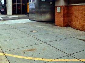 A painted line denotes the 35-foot buffer zone around the entrance to a Planned Parenthood clinic in Boston, MA