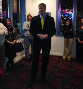 Charlie Baker, a Republican candidate for governor of Massachusetts, joined supporters at Zucco's Restaurant in Pittsfield Tuesday.