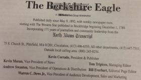 The Berkshire Eagle's masthead on its op-ed page will incorporate The North Adams Transcript's nameplate.