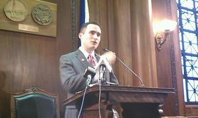Springfield City Council President Mike Fenton delivers his inaugural speech shortly after his 12 colleagues elected him unanimously to lead the council in 2014