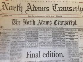The front page of the final edition of The North Adams Transcript using a template from May 23, 1895.