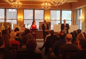 Standing in what is expected to be a hotel conference area, (from left to right) Laurie and David Tierney along with Bruce Finn discuss their plans to the 60-plus crowd of government, business and community leaders Tuesday in Pittsfield.