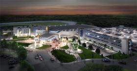 An artist's rendering of the Plainridge Park Casino, a slots machine parlor in Plainville, MA.  Penn National Gaming plans to open the casino in Spring 2015. It can have up to 1,250 slot machines, but no table games.