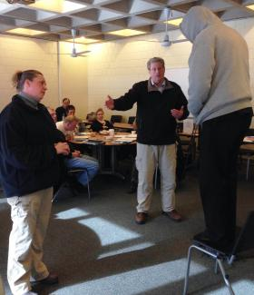 Law enforcement officers took part in role-playing scenarios as part of a week-long crisis intervention training course held at Berkshire Community College in Pittsfield, Mass. The course was geared toward helping officers assess and act during situations involving a person with a mental health issue.