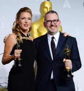 Caitrin Rogers, left, Pittsfield, Mass. native and co-producer of 20 Feet From Stardom alongside the documentary's director Morgan Neville.
