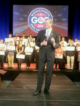 Charlie Baker addresses the Massachusetts Republican Convention after delegates voted overwhelmingly to endorse him for governor.