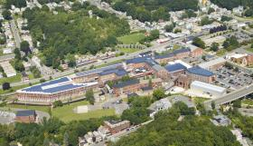 An aerial view of the MASS MoCA campus in North Adams, Mass