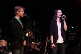 Anthony Rapp and Idina Menzel at The Cutting Room 2/13/14