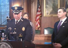 Springfield Police Deputy Chief John Barbieri speaks at a March 19,2014 news conference after Mayor Domenic Sarno announced he would appoint Barbieri to be the next police commissioner effective June 1st.