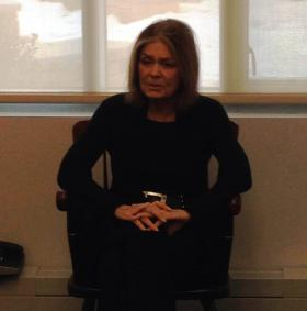 Feminist icon Gloria Steinem  met with reporters before speaking at Massachusetts College of Liberal Arts in North Adams, Massachusetts Tuesday night.