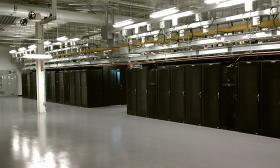 Cabinets for computer servers in the Massachusetts Green High Performance Computing Center in Holyoke.