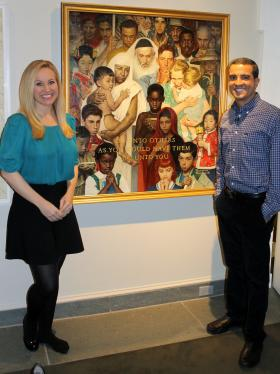 JEOPARDY! Clue Crew members Sarah Whitcomb Foss and Jimmy McGuire at the Norman Rockwell Museum.
