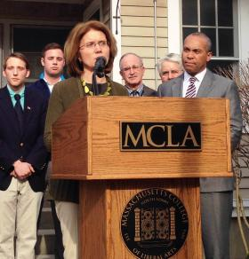 MCLA Pres. Mary Grant speaking outside the college's wellness center Friday afternoon.