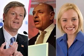 Republican gubernatorial candidate Charlie Baker, potential Tea Party challenger Mark Fisher ( center), and Mass. GOP chair Kirsten Hughes
