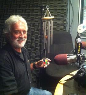 Garry Kvistad in studio with his Woodstock Chimes for Autism