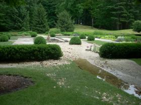 The Mount's French flower garden after the heavy rain