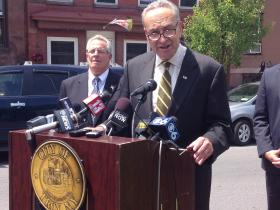 """In 2012, Troy dropped from 50,072 people to 49,946 people."" ~ Senator Charles Schumer (Mayor Lou Rosamilia looking on)"
