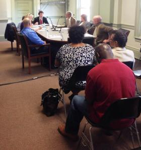 At it's first meeting May 13, the Pittsfield Human Rights Commission heard from Doreen Wade, seated to the right in white. She requested the commission investigate Pittsfield Mayor Dan Bianchi and the city for discrimination and unfair hiring practices.